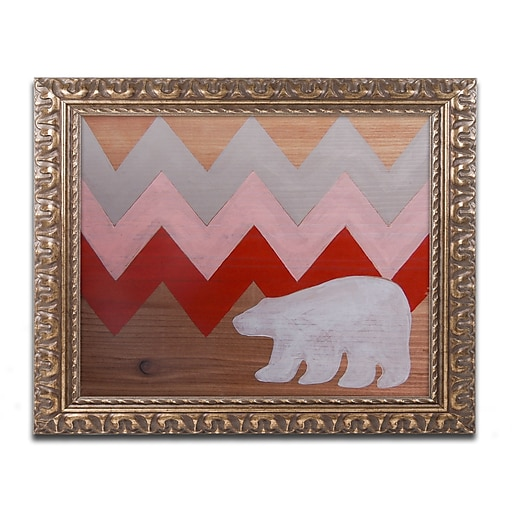 "Trademark Fine Art ''Polar Bear Red'' by Nicole Dietz 11"" x 14"" Ornate Frame (ND098-G1114F)"