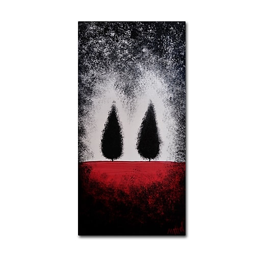"Trademark Fine Art ''Trees on Red'' by Nicole Dietz 16"" x 32"" Canvas Art (ND102-C1632GG)"