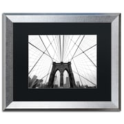 "Trademark Fine Art ''NYC Brooklyn Bridge'' by Nina Papiorek 16"" x 20"" Black Matted Silver Frame (NP0001-S1620BMF)"