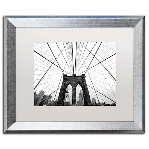 "Trademark Fine Art ''NYC Brooklyn Bridge'' by Nina Papiorek 16"" x 20"" White Matted Silver Frame (NP0001-S1620MF)"