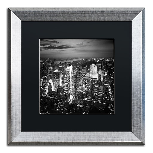 """Trademark Fine Art ''Times Square'' by Nina Papiorek 16"""" x 16"""" Black Matted Silver Frame (NP0013-S1616BMF)"""