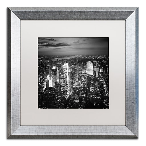 """Trademark Fine Art ''Times Square'' by Nina Papiorek 16"""" x 16"""" White Matted Silver Frame (NP0013-S1616MF)"""