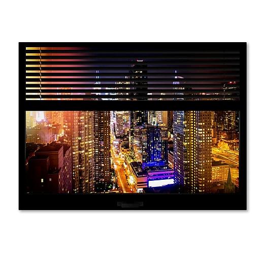 "Trademark Fine Art ''Window View Manhattan Night 1'' by Philippe Hugonnard 24"" x 32"" Canvas Art (PH0005-C2432GG)"