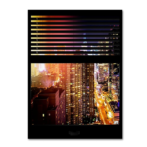 "Trademark Fine Art ''Window View Manhattan Night 5'' by Philippe Hugonnard 24"" x 32"" Canvas Art (PH0007-C2432GG)"