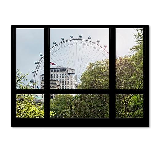 "Trademark Fine Art ''Window View The London Eye 1'' by Philippe Hugonnard 35"" x 47"" Canvas Art (PH0018-C3547GG)"