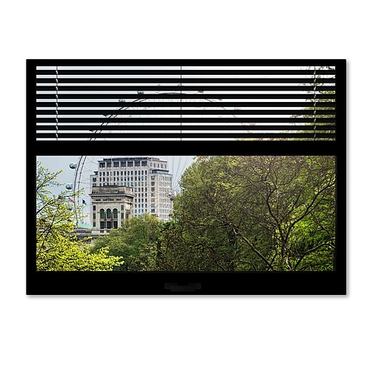 "Trademark Fine Art ''Window View The London Eye 2'' by Philippe Hugonnard 24"" x 32"" Canvas Art (PH0019-C2432GG)"