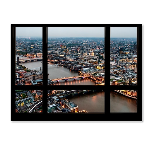 "Trademark Fine Art ''Window View London at Dusk 2'' by Philippe Hugonnard 35"" x 47"" Canvas Art (PH0043-C3547GG)"