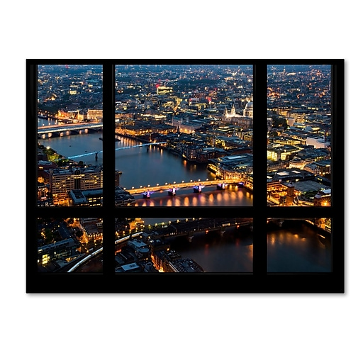 "Trademark Fine Art ''Window View London by Night 2'' by Philippe Hugonnard 35"" x 47"" Canvas Art (PH0049-C3547GG)"