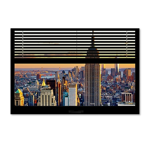 "Trademark Fine Art ''Window View NYC Sunset 3'' by Philippe Hugonnard 22"" x 32"" Canvas Art (PH0056B-C2232GG)"