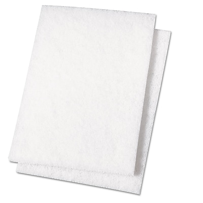 Boardwalk Light Duty Scour Pad, White, 6 X 9, 20/carton