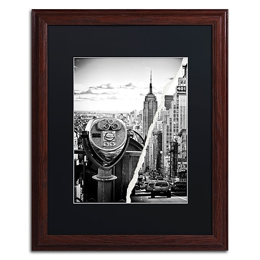 """Trademark Fine Art ''Looking to New York City'' by Philippe Hugonnard 16"""" x 20"""" Black Matted Wood Frame (PH0073-W1620BMF)"""