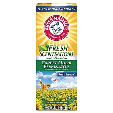 Arm & Hammer Fresh Scentsations Carpet Odor Eliminator, Fresh Breeze, 30 Oz Box, 6/carton