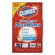 Clorox Triple Action Dust Wipes, White, 7 X 8 1/2, 54/box, 5 Box/carton
