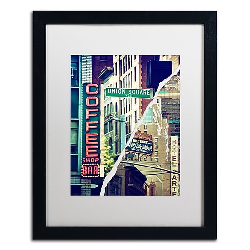 "Trademark Fine Art ''New York Atmosphere'' by Philippe Hugonnard 16"" x 20"" White Matted Black Frame (PH0075-B1620MF)"