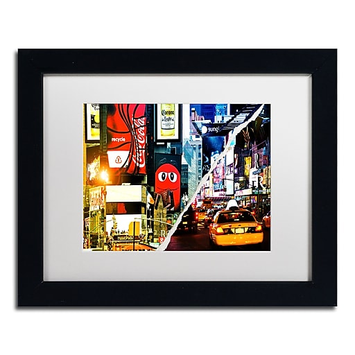 "Trademark Fine Art ''Times Square Night'' by Philippe Hugonnard 11"" x 14"" White Matted Black Frame (PH0076-B1114MF)"