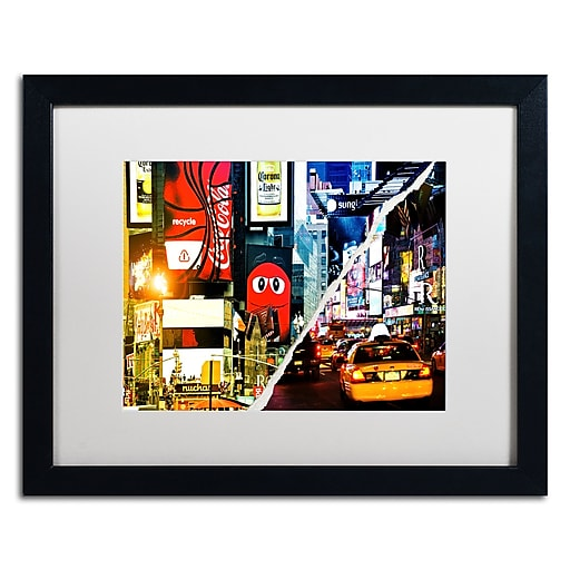 "Trademark Fine Art ''Times Square Night'' by Philippe Hugonnard 16"" x 20"" White Matted Black Frame (PH0076-B1620MF)"