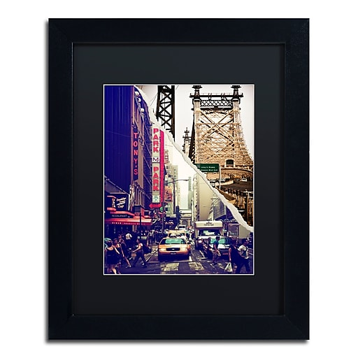 "Trademark Fine Art ''NYC Traffic'' by Philippe Hugonnard 11"" x 14"" Black Matted Black Frame (PH0077-B1114BMF)"