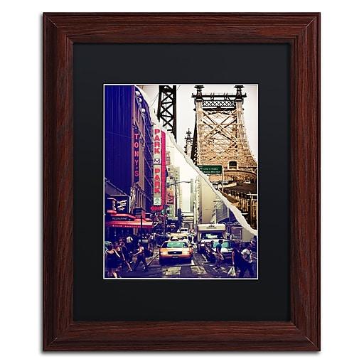 "Trademark Fine Art ''NYC Traffic'' by Philippe Hugonnard 11"" x 14"" Black Matted Wood Frame (PH0077-W1114BMF)"