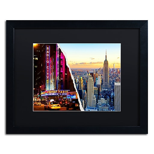 "Trademark Fine Art ''NYC Music Hall'' by Philippe Hugonnard 16"" x 20"" Black Matted Black Frame (PH0084-B1620BMF)"