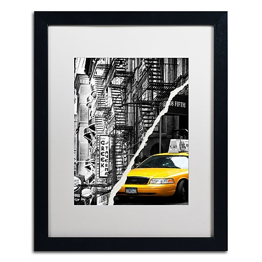 "Trademark Fine Art ''Live in New York'' by Philippe Hugonnard 16"" x 20"" White Matted Black Frame (PH0086-B1620MF)"