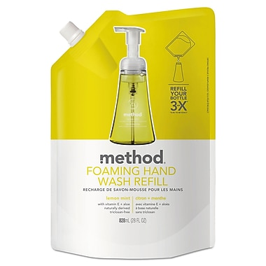 Method Foaming Hand Wash, Lemon Mint, 28 Oz Pouch, 6/carton