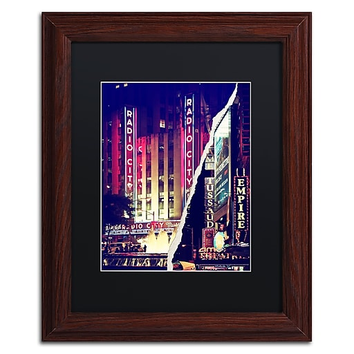 """Trademark Fine Art ''Times Square Theater District'' by Philippe Hugonnard 11"""" x 14"""" Black Matted Wood Frame (PH0089-W1114BMF)"""