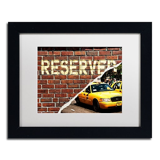 """Trademark Fine Art ''Taxi Booked'' by Philippe Hugonnard 11"""" x 14"""" White Matted Black Frame (PH0090-B1114MF)"""