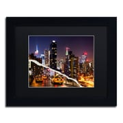 """Trademark Fine Art ''Life Taxis in New York'' by Philippe Hugonnard 11"""" x 14"""" Black Matted Black Frame (PH0091-B1114BMF)"""