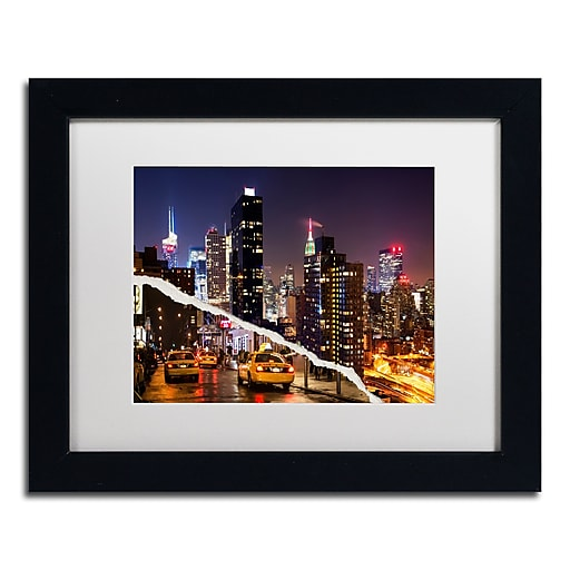 """Trademark Fine Art ''Life Taxis in New York'' by Philippe Hugonnard 11"""" x 14"""" White Matted Black Frame (PH0091-B1114MF)"""