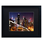 """Trademark Fine Art ''Life Taxis in New York'' by Philippe Hugonnard 16"""" x 20"""" Black Matted Black Frame (PH0091-B1620BMF)"""