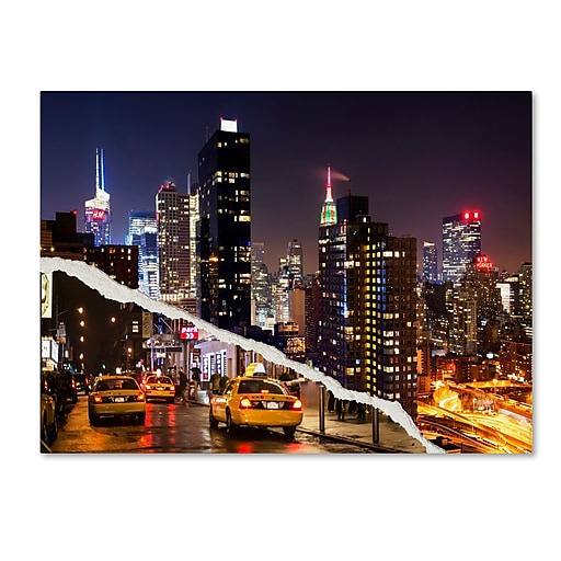"Trademark Fine Art ''Life Taxis in New York'' by Philippe Hugonnard 14"" x 19"" Canvas Art (PH0091-C1419GG)"