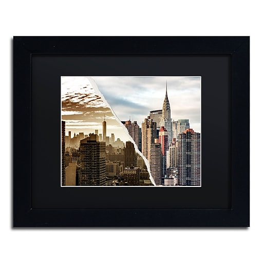 """Trademark Fine Art ''The Skyscrapers'' by Philippe Hugonnard 11"""" x 14"""" Black Matted Black Frame (PH0092-B1114BMF)"""