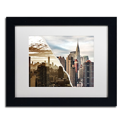"Trademark Fine Art ''The Skyscrapers'' by Philippe Hugonnard 11"" x 14"" White Matted Black Frame (PH0092-B1114MF)"