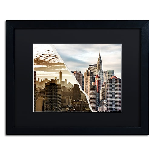 "Trademark Fine Art ''The Skyscrapers'' by Philippe Hugonnard 16"" x 20"" Black Matted Black Frame (PH0092-B1620BMF)"