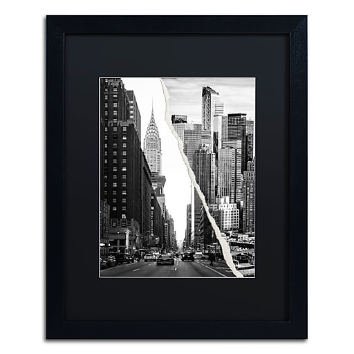 "Trademark Fine Art ''Downtown City'' by Philippe Hugonnard 16"" x 20"" Black Matted Black Frame (PH0093-B1620BMF)"