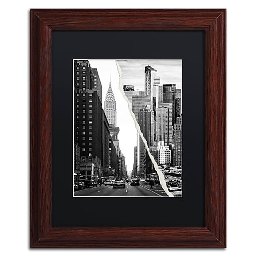 """Trademark Fine Art ''Downtown City'' by Philippe Hugonnard 11"""" x 14"""" Black Matted Wood Frame (PH0093-W1114BMF)"""
