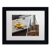 """Trademark Fine Art ''NYC Taxi'' by Philippe Hugonnard 11"""" x 14"""" White Matted Black Frame (PH0095-B1114MF)"""