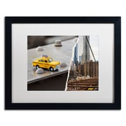 "Trademark Fine Art ''NYC Taxi'' by Philippe Hugonnard 16"" x 20"" White Matted Black Frame (PH0095-B1620MF)"