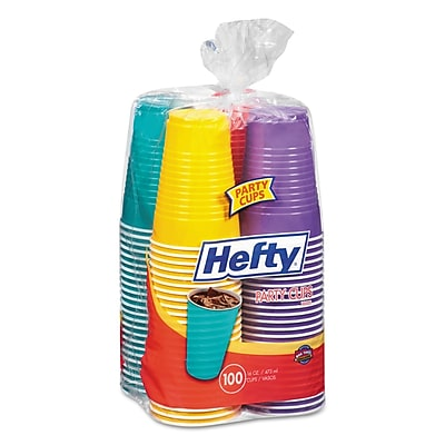 Hefty Easy Grip Disposable Plastic Party Cups, 16 Oz, Assorted, 100/pack, 4pk/carton RFPC21637CT