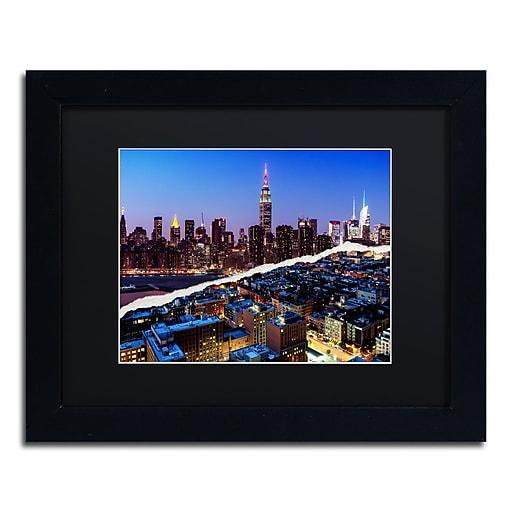 """Trademark Fine Art ''Downtown City at Night'' by Philippe Hugonnard 11"""" x 14"""" Black Matted Black Frame (PH0096-B1114BMF)"""