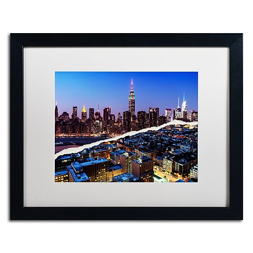 """Trademark Fine Art ''Downtown City at Night'' by Philippe Hugonnard 16"""" x 20"""" White Matted Black Frame (PH0096-B1620MF)"""
