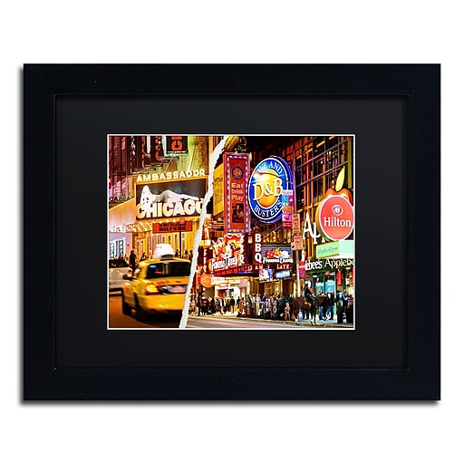 """Trademark Fine Art ''Times Square Colours'' by Philippe Hugonnard 11"""" x 14"""" Black Matted Black Frame (PH0097-B1114BMF)"""