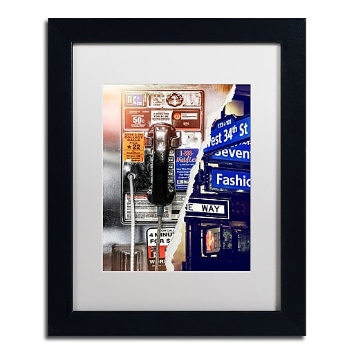 "Trademark Fine Art ''Phone me to New York'' by Philippe Hugonnard 11"" x 14"" White Matted Black Frame (PH0100-B1114MF)"