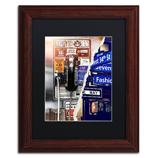 "Trademark Fine Art ''Phone me to New York'' by Philippe Hugonnard 11"" x 14"" Black Matted Wood Frame (PH0100-W1114BMF)"