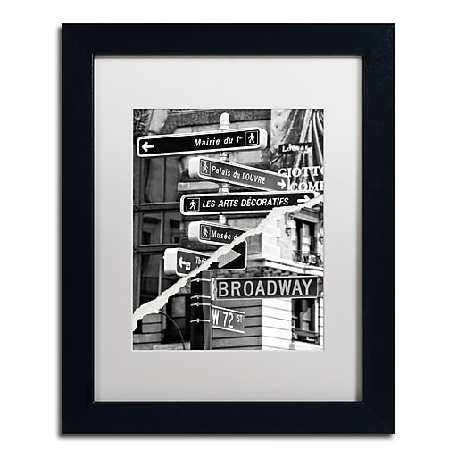 """Trademark Fine Art ''The Louvre or Broadway'' by Philippe Hugonnard 11"""" x 14"""" White Matted Black Frame (PH0104-B1114MF)"""