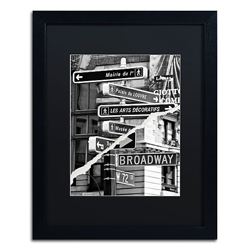 """Trademark Fine Art ''The Louvre or Broadway'' by Philippe Hugonnard 16"""" x 20"""" Black Matted Black Frame (PH0104-B1620BMF)"""
