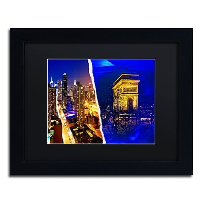 "Trademark Fine Art ''Cities at Night'' by Philippe Hugonnard 11"" x 14"" Black Matted Black Frame (PH0110-B1114BMF)"