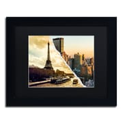 "Trademark Fine Art ''Sunset in Paris and New York'' by Philippe Hugonnard 11"" x 14"" Black Matted Black Frame (PH0114-B1114BMF)"