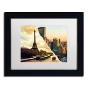 "Trademark Fine Art ''Sunset in Paris and New York'' by Philippe Hugonnard 11"" x 14"" White Matted Black Frame (PH0114-B1114MF)"