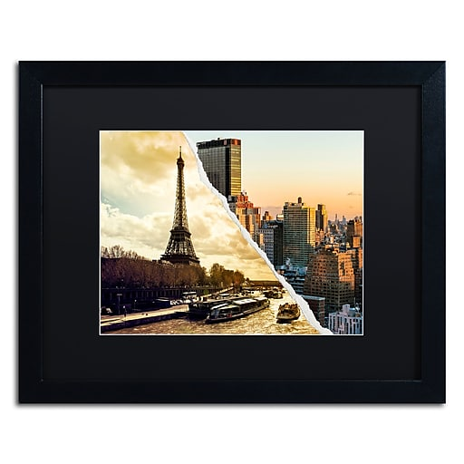 """Trademark Fine Art ''Sunset in Paris and New York'' by Philippe Hugonnard 16"""" x 20"""" Black Matted Black Frame (PH0114-B1620BMF)"""
